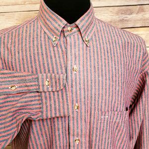Gant Salty Dog Vintage Red Gray Striped Shirt Med